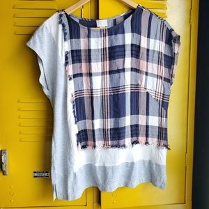 Anthropologie asymmetrical plaid shirt